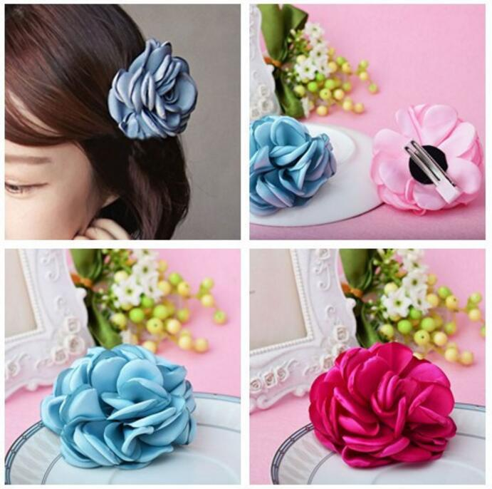 Girls Flower Hair clips children girls hair accessory Satin Floral hairpins barrettes new original black full lcd display