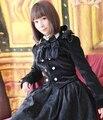 Dark Blue double-breasted Velvet Handsome Conventional Style Lolita Coat
