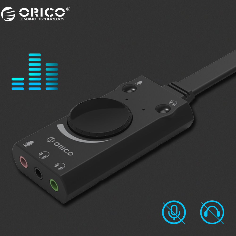 ORICO Portable USB External Sound Card Microphone Earphone Two-in-One With 3-Port Output Volume Adjustable For Windows/Mac/Linux