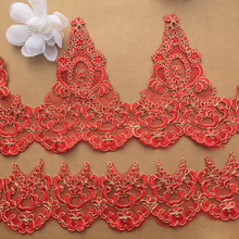 3 Yards Red Golden Car Bone Lace Trim Embroidered Fabric DIY Applique For Garment Sewing Accessories Crafts
