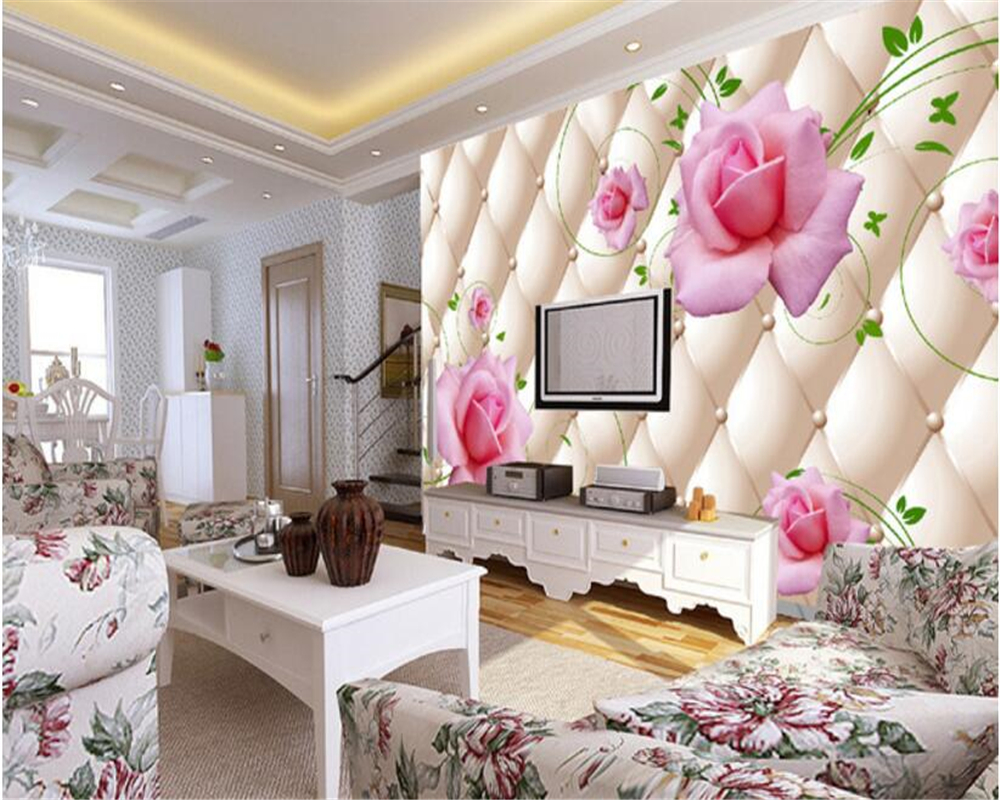 beibehang 2017 new fashion home wallpaper living room imitation soft bag rose pattern TV background wall papel de parede tapety in Wallpapers from Home Improvement