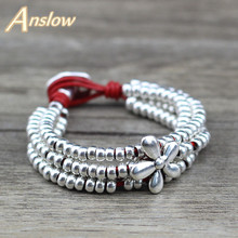 Anslow New Hot Fashion Jewelry Elegant Woman Antique Silver Plated Brand Beads Bracelets For Women Men Party Wholesale LOW0636LB