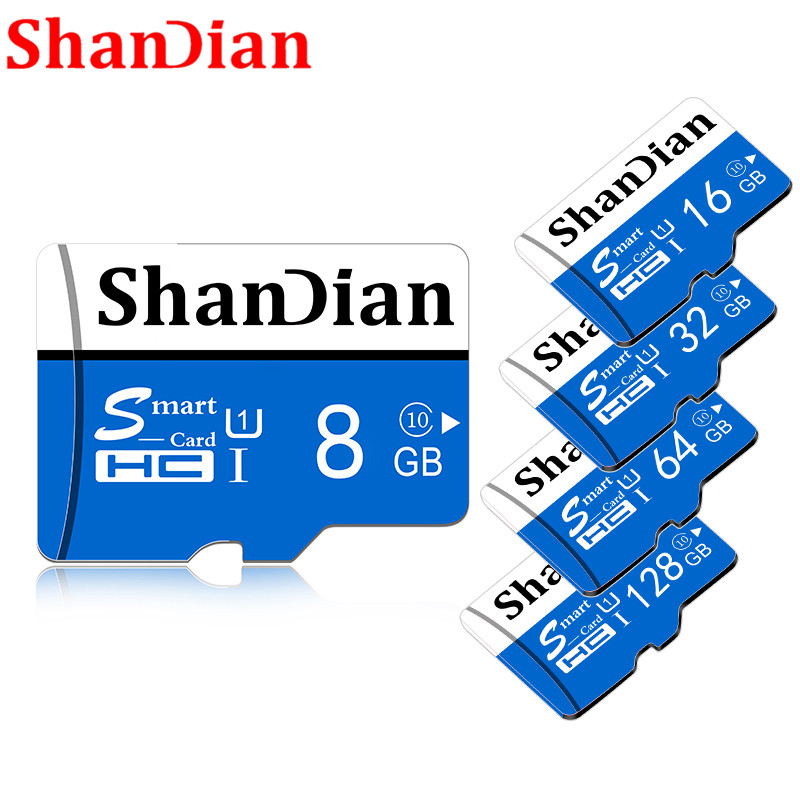 Shandian Original  8GB 16GB Micro Sd Card 32GB 64GB Class 10 TF Card Memory Card Free Card Adapter With Retail Package
