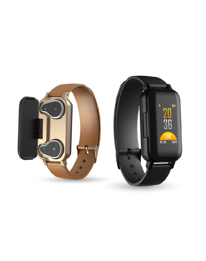 <font><b>T89</b></font> <font><b>TWS</b></font> Smart Binaural Bluetooth Headphone Fitness Bracelet Heart Rate Monitor Smart Wristband Sport Watch Android and iOS image