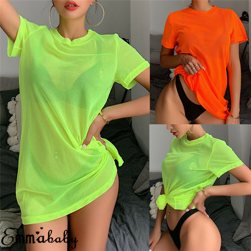Sexy Women Sheer Mesh Bikini Cover Up Swimwear Swimsuit Bathing Suit See Through Short Sleeve T-shirt Tops Summer Beach Dress(China)