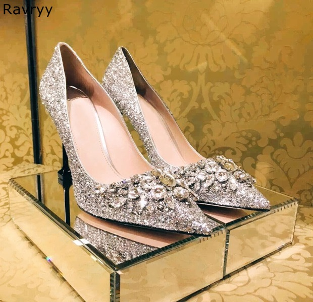 Bling Bling Crystal Decor Silver Woman high heel pointed toe sexy pumps sli-on female dress shoes luxury wedding party shoes