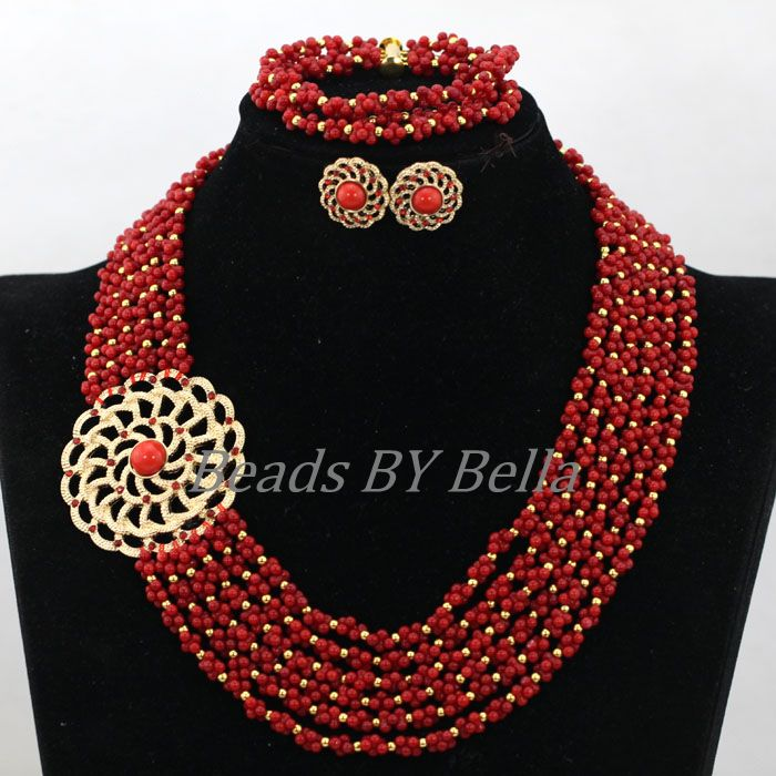 где купить Handmade Red Coral Beads African Wedding Bridal Jewelry Set Nigerian Statement Necklace Lace Jewelry Set Free Shipping ABK871 дешево