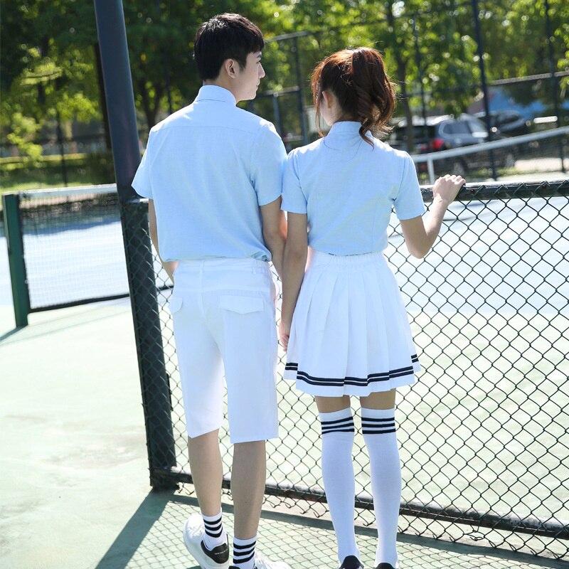 Uniformes scolaires coréens chemise blanche + jupe pour étudiants filles chemise + pantalon étudiants coréens garçons cosplay costume - 5