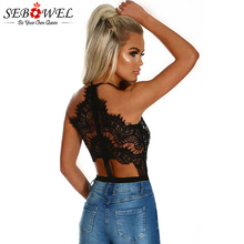 SEBOWEL Sexy Black Eyelash Lace Bodysuit Women V neck High Waist Body Top Sleeve