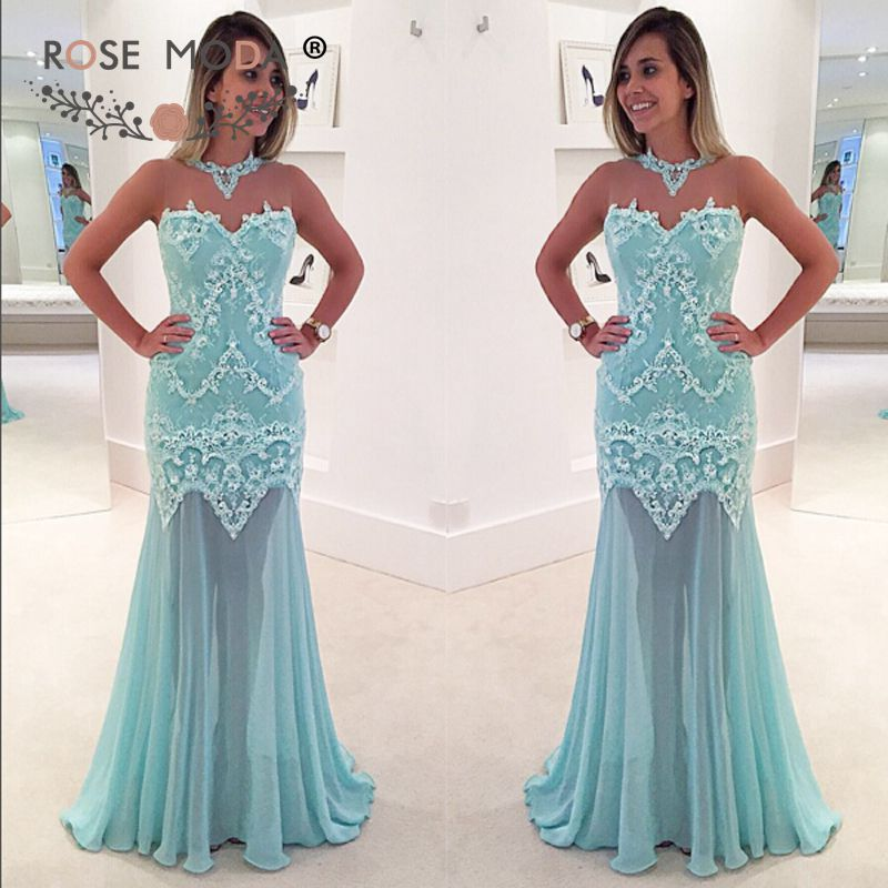 Rose Moda Blue Lace   Prom     Dress   with See Through Skirt Lace Party   Dress   Custom Made