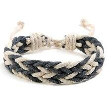 цена на Waxed Thread Braided Bracelet Bangle for Men Handmade Rope Weaved Vintage Punk Man Bracelets Rope Weaving Men's Bracelet Jewelry