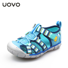 UOVO 2020 ילדים חדשים סנדלי עבור בנים ובנות קיץ ילד חוף נעלי אופנה וו ולולאה ילדים נעלי גודל 26 # 33 #