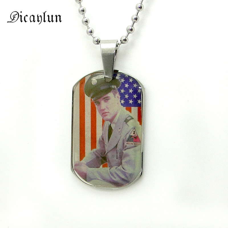 DICAYLUN Elvis Presley Jewelry Gifts Photo Necklace Stainless Steel Elvis Memorial USA Flag Picture Pendant Collection For Fans