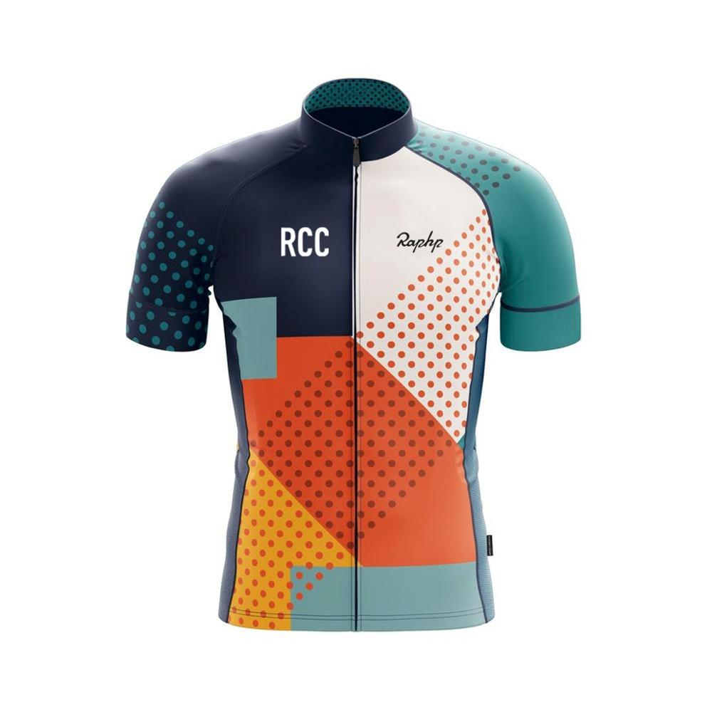 RCC Raphp Mens Cycling Jersey Short Sleeves Mountain Bike Bicycle Shirts MTB Road Jersey Reflective Zipper Pockets image