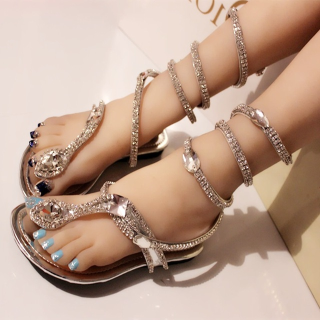 5238c2dca35e Sexy Coiled Serpentine Clip Toe Flat Sandals Bling Crystals Cross Straps  Shoes Summer Silver Party Shoes Metal Decor Sandal