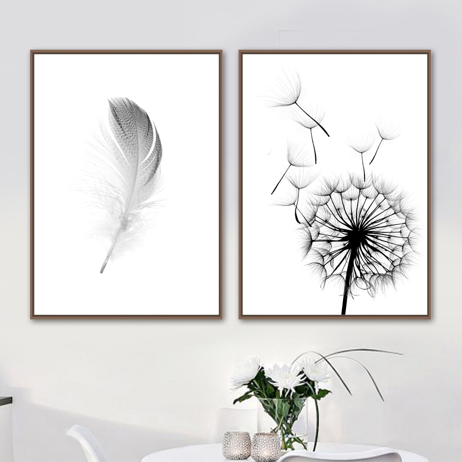 Canvas Painting Wall-Pictures Dandelion Nordic Posters Prints White Black Living-Room-Decor