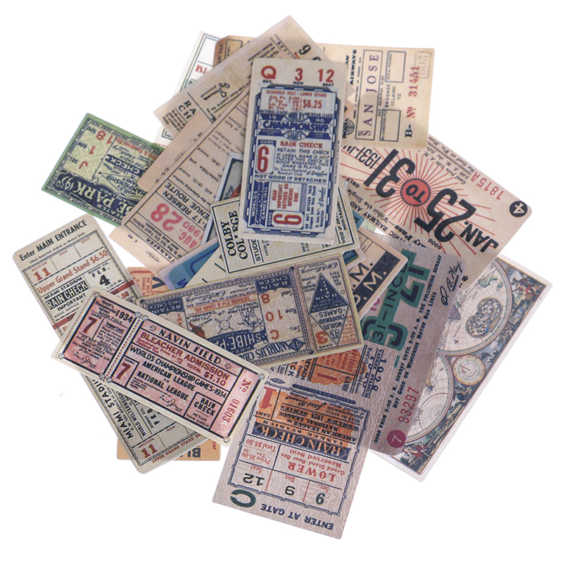 22pcs/Pack Vintage Retro Tickets Old Peper Bill Decorative Sticker DIY Scrapbooking Planner Photo Diary Album Sticker Toys
