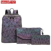 Laser Luminous Triangle Sequin set Backpack for women's shoulder bag School Girls Backpack Female Design Backbag holographic bag