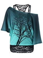 Patchwork Black Lace Blouse Batwing Sleeve Plus Size 5XL Women Blouses Shirts Casual Print Pattern Off