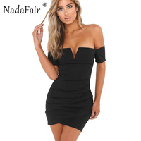 Nadafair Off The Shoulder V Neck Sheath Sexy Club Bodycon Party Dress For Summer