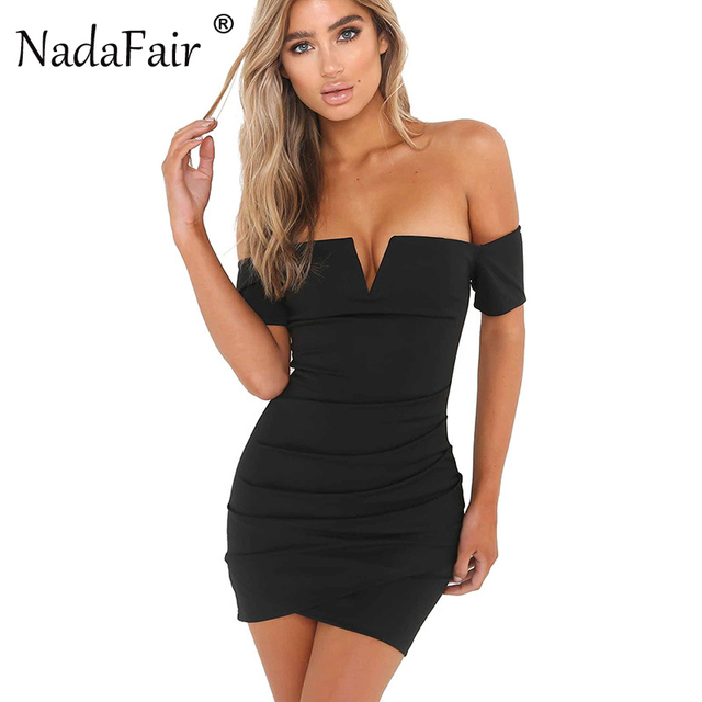 Nadafair Off The Shoulder V Neck Sheath Sexy Club Bodycon Party Dress For Summer