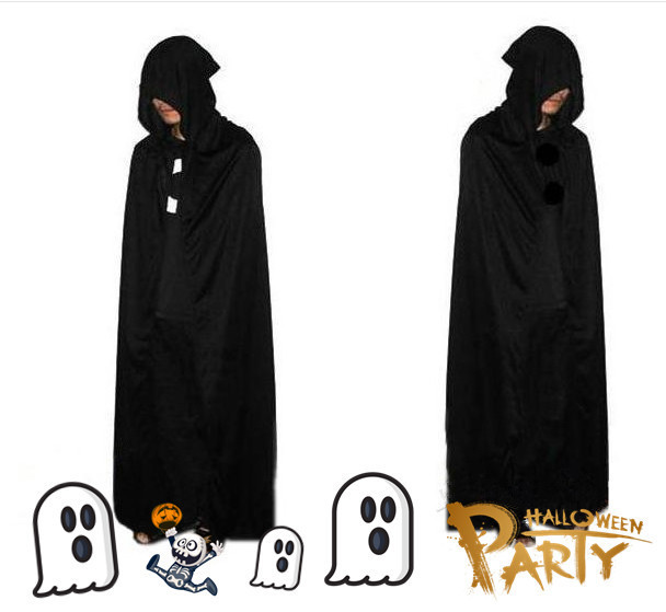 Halloween Costume Horror Cos Costumes Black chiffon cloak Mens Sorcerer Wizard Demon Ble ...
