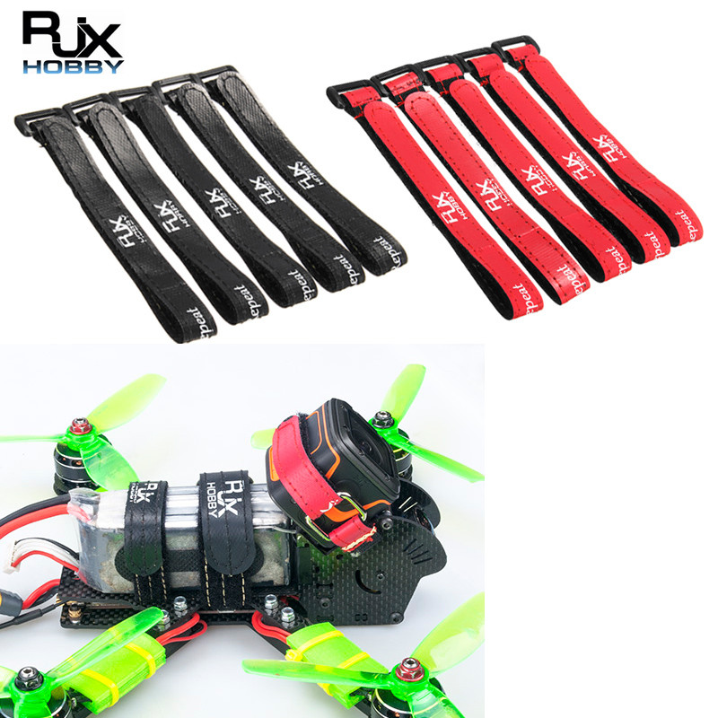 5PCS RJXHOBBY High Strength Non-Slip Magic Tape Battery Straps for RC Multirotor FPV Racing Drone Black Red 250mmx15mm