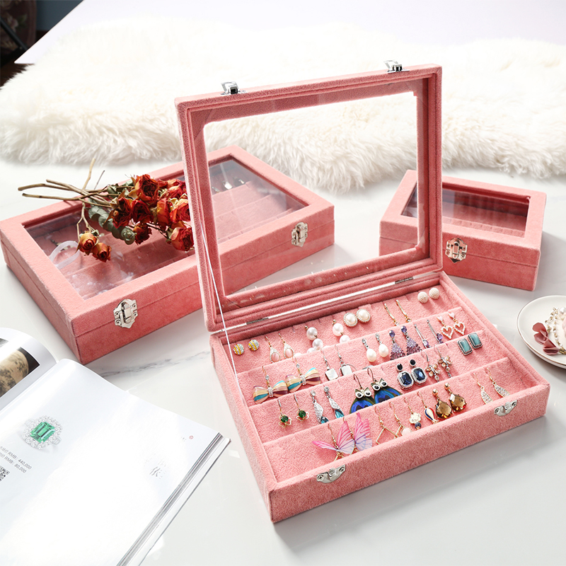M Velvet Jewelry Organizer Earrings Pendant Storage Display Case Clear Lid