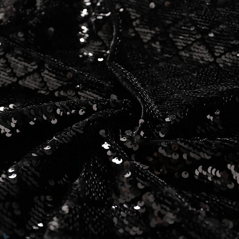 Femmes Haute Longues Court Manteau Manches O Veste Qualité Noir Cou Mode 2018 Bomber Printemps Conception Paillettes Nouveauté Nouveau Zipper Casual Bx58wq