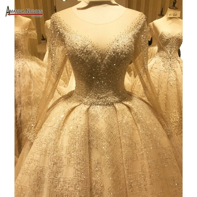יוקרה חתונה שמלת אמנדה novias עבודה אמיתית 100% באיכות גבוהה שמלת כלה