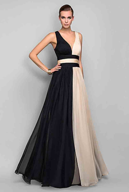 Super Cheap Dresses High Quality V Neck A Line Black Champagne ...