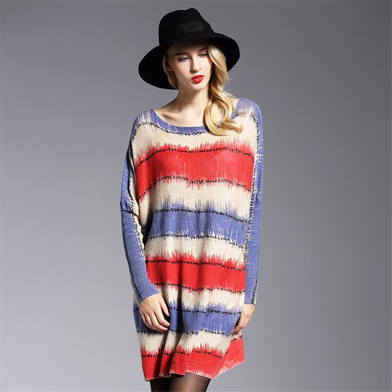 2018 spring autumn new European womens Design High Quality Fashion Woman stripe Print Slash Neck Pullovers Knitted wool Sweater