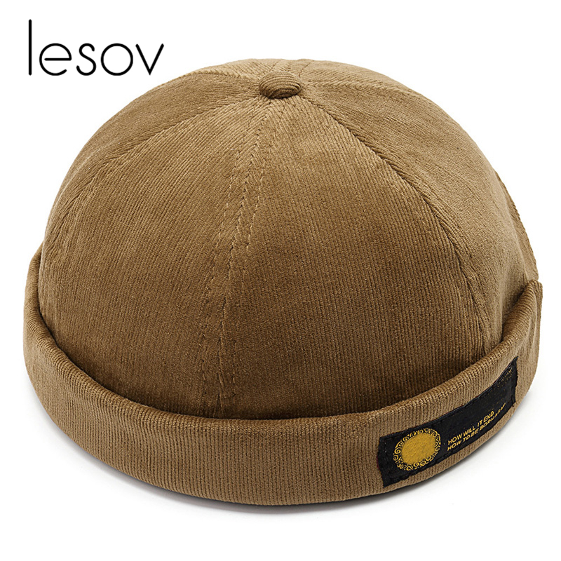 Lesov Vintage Dome Hat Mens Warm Velvet   Beanies   For Men Retro Crimping Brimless Skull Caps Autumn Casual Hip Hop Cap Gorro