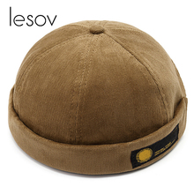 Lesov Vintage Dome Hat Mens Warm Velvet Beanies For Men Retro Crimping Brimless