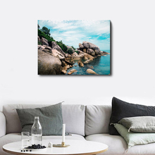 Laeacco Canvas Calligraphy Painting Seaside Poster and Print Stone Blue Sky Wall Art Picture Living Room Kitchen Home Decoration