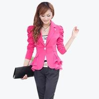 2017 Fashion Spring Blazer Size S 6XL Work Wear Jacket Women Long Sleeves Coat Candy Color