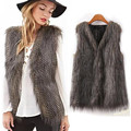 New Women Vest Sleeveless Coat Fashion Outerwear Long Hair Jacket Waistcoat warm Faux Fur bulk purchase