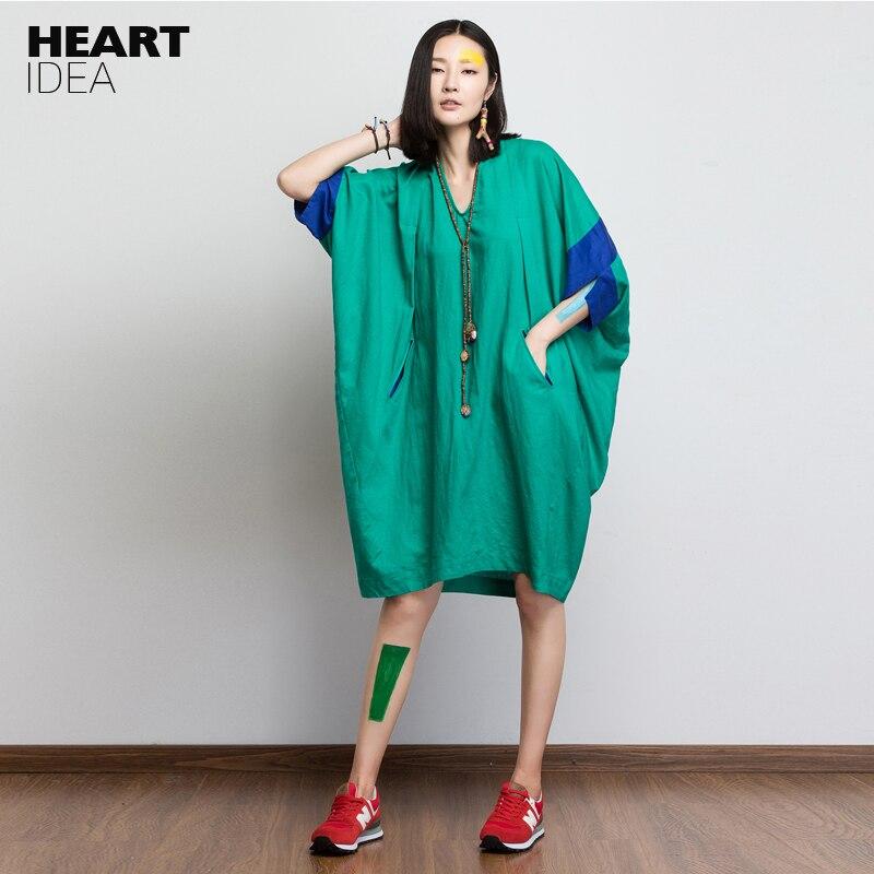 LYNETTE'S CHINOISERIE Automne lâche v-cou robe vert plus la taille femmes vintage style preppy d'une seule pièce robe féminine