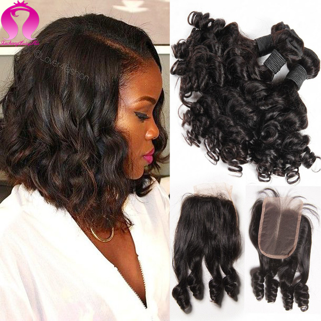 Ali New 8A Short Weave Bob Malaysia Virgin Hair 3 Bundles With Closure Curly Weave Human Hair With Closure Tissage Aec Closure