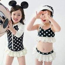 2019 4pcs girls bathing suit Dots Swimsuit Kids Baby Girl Bikini Set Swimwear Swimsuit Bathing Suit baby bathing suits for girls цена