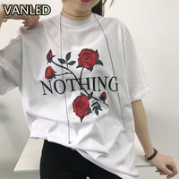 American Women Red Roses T Shirts Nothing Letter Female Short Sleeve Baggy T Shirt In Summer