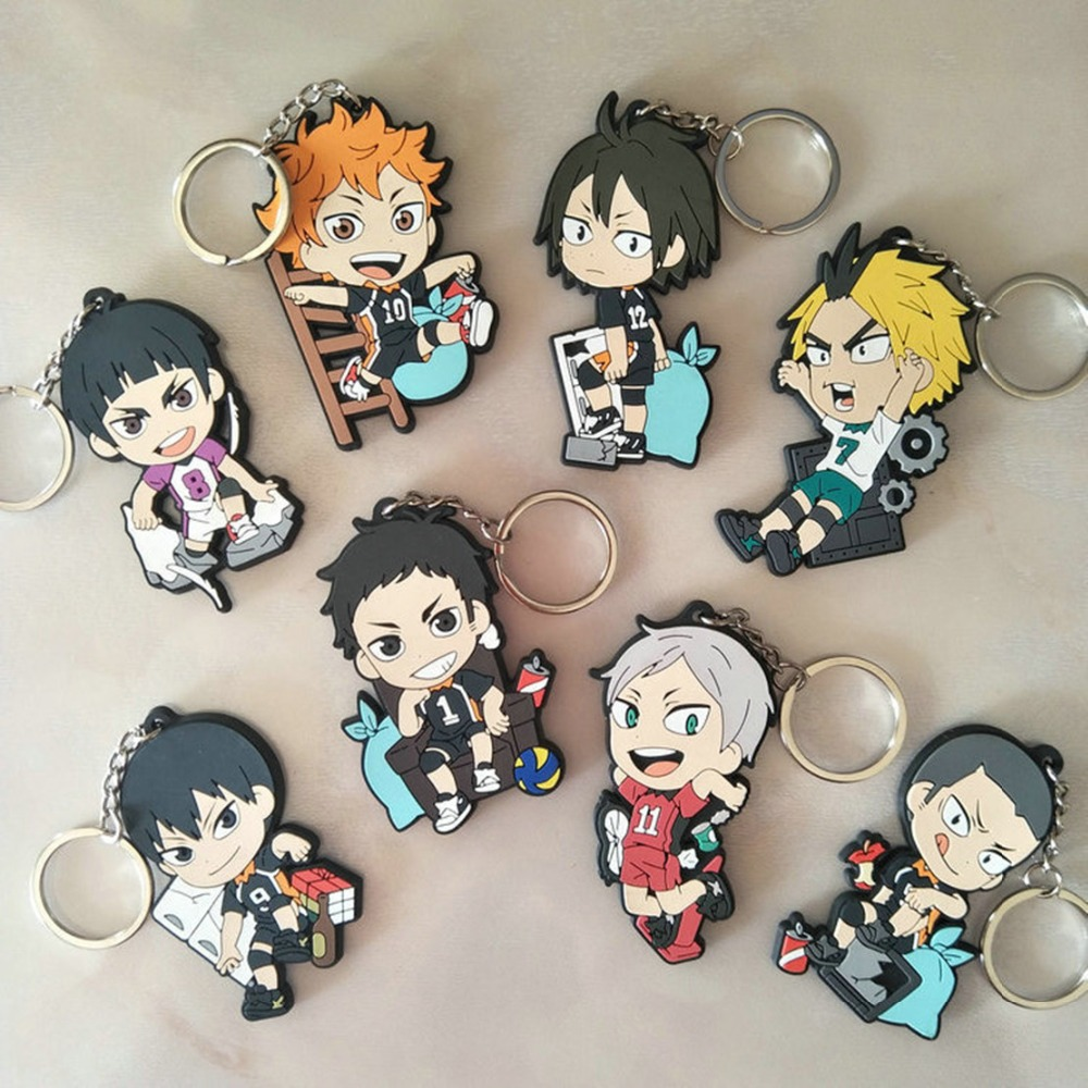 Cartoon Haikyuu Hinata Shoyo PVC Keychain Kageyama Tobio Fashion Fun Cute Keyrings Bag Pendant Accessories Porte Clefs Kids Toys