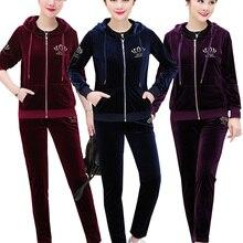 Eşofman kadın 2019 Set 2 parça giyim seti: ceket + pantolon elastik kadife Conjunto artı boyutu XL ~ 5XL Sportsuits bayan eşofman