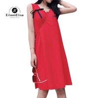 2019 женское платье без рукавов; платье трапециевидной формы для женщин; красный цвет; сезон лето; на бретелях Повседневные платья Vestido