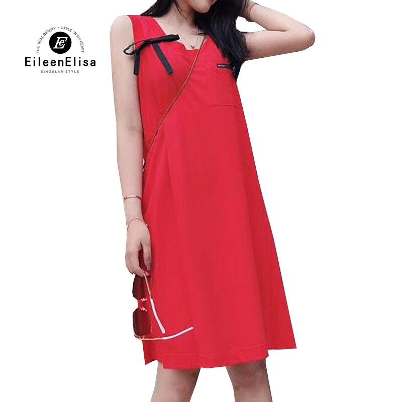 2019 femmes robe sans manches a-ligne robe pour dames d'été rouge robes de réservoir décontracté vestido