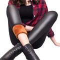 De Cuero de invierno Más El Terciopelo Legging Mujeres Polar Trouses Aptitud Feminino Negro Leggings Elástico Delgado Mujer Lápiz Leggings K127