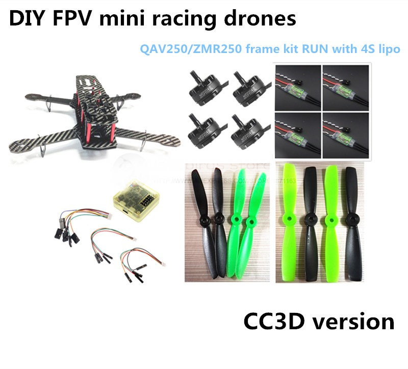 DIY race quadcopter mini drone QAV250 / ZMR250 carbon frame run with 4S kit CC3D + EMAX MT2204 II 2300KV+ Dragonfly 12A ESC opto carbon fiber zmr250 c250 quadcopter