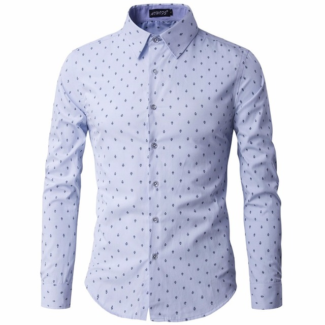 3718834b85a6 Autumn New Men Printed Casual Shirts Fashion Men Floral Dress Shirt Long  Sleeve Brand Clothing Male Formal England Business Tees
