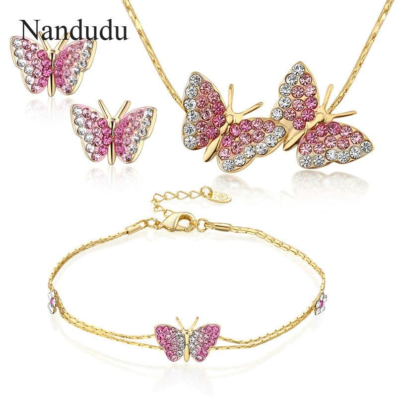 Nandudu Rose Gold Farbe Rosa Kristall Schmetterling Modeschmuck Set - Modeschmuck - Foto 1
