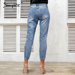 Image 3 - Simplee Sequin Gat Blauw Jeans Vrouwen Bodem Streetwear Rits Fringe Gescheurde Jeans Broek 2019 Lente Broek Losse Vrouwelijke Denim